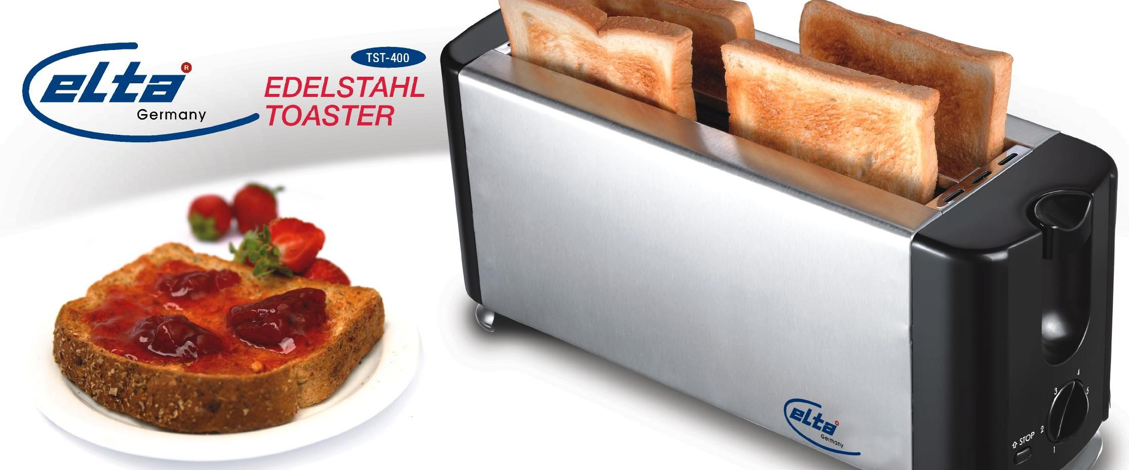 elta 4 scheiben edelstahl toaster toastautomat langschlitztoaster toast tst 400 ebay. Black Bedroom Furniture Sets. Home Design Ideas