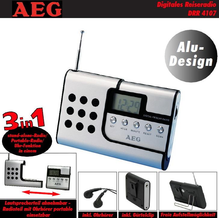 aeg reise radio portabel mit ohrh rer kopfh rer portable uhr uhrenradio drr 4107 ebay. Black Bedroom Furniture Sets. Home Design Ideas