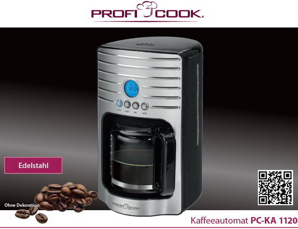 proficook kaffeeautomat uhr programmierbar kaffeemaschine filterkaffeemaschine ebay. Black Bedroom Furniture Sets. Home Design Ideas