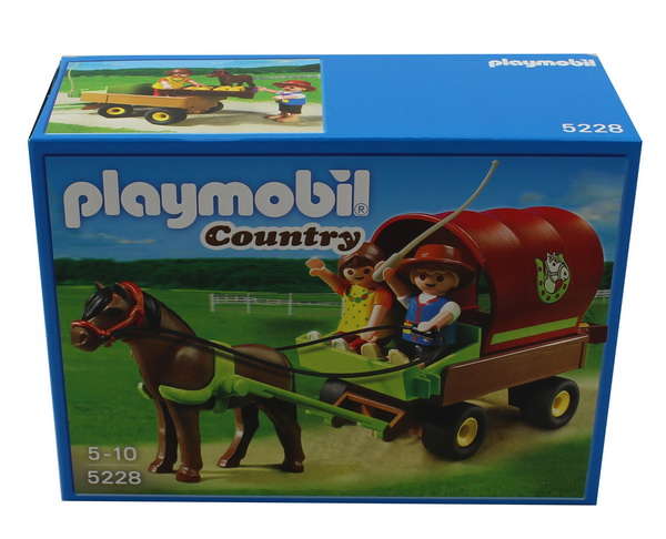 Playmobil 5228 country kutsche kinder ponywagen 2 playmobilfiguren pferd pony ebay - Playmobil kutsche ...