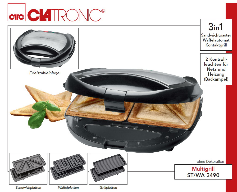 3in1 multigrill waffeleisen sandwichtoaster kontaktgrill grill sandwich maker ebay. Black Bedroom Furniture Sets. Home Design Ideas